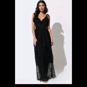 Crochet Lace Side Slit Maxi Dress
